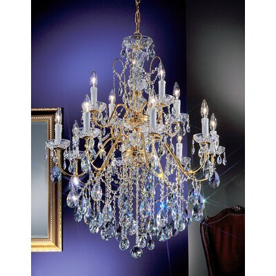 Letitia 12-Light Candle Style Chandelier Crystal Type: Swarovski Spectra, Finish: Gold Plated