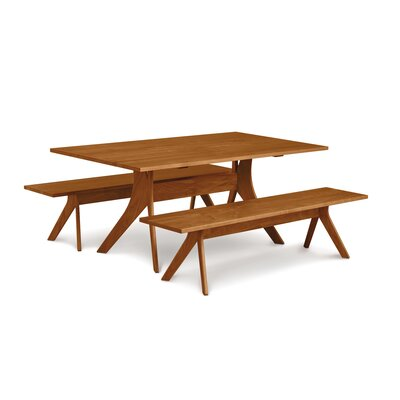 "Audrey Wood Bench Bench Size: 17.5"" H x 60"" W x 17.75"" D, Color: Smoke Cherry"