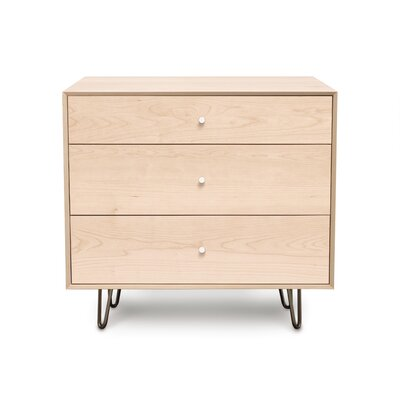 Canvas 3 Drawer Bachelor's Chest Color: Dark Chocolate Maple, Leg Material: Metal, Drawer Handle Design: Push