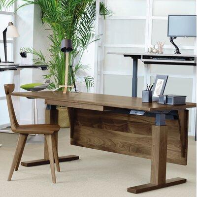 "Invigo Desk Size: 26"" H x 48"" W, Color (Top/Frame): Natural Walnut/Black/Keyboard Tray"