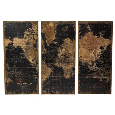 Stanford world map 3 piece graphic art set wayfair for 3 piece paintings