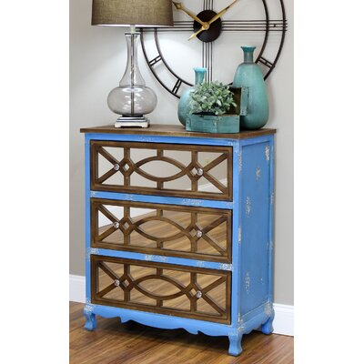 Lara French Country 3 Drawer Chest Color: Blue