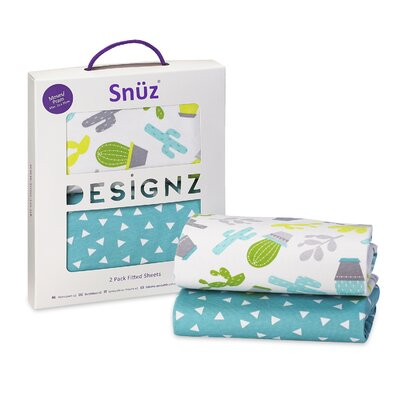 The Little Green Sheep Snuz Rootin' Tootin' 2 Piece 100% Cotton Moses Basket / Pram Fitted Sheets Set