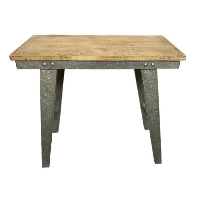 "Pickard Wood and Galvanized Farmhouse Work Table Size: 31.25"" H x 32"" W x 15.25"" D"