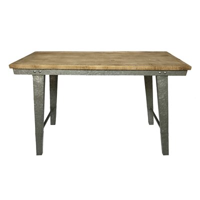 """Pickard Wood and Galvanized Farmhouse Work Table Size: 30"""" H x 48.5"""" W x 19"""" D"""