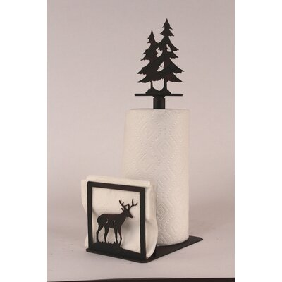 Deer Paper Towel and Napkin Holder with Pine Tree Topper