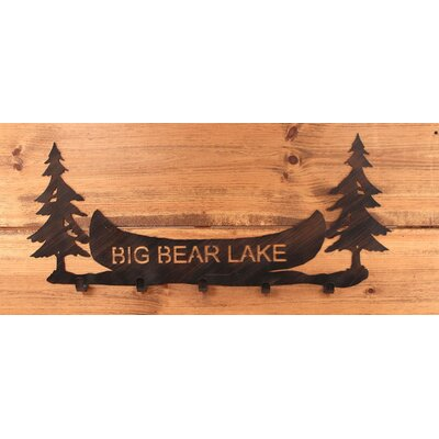 Pine Trees and Canoe Personalized Coat Rack
