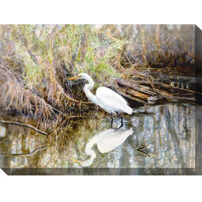 West of the Wind Outdoor Canvas Art Egret Framed Painting Print on Wrapped Canvas