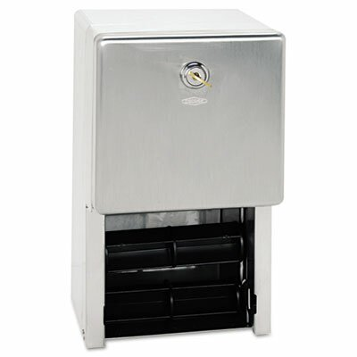 Stainless Steel Two-Roll Tissue Dispenser, 6 1/4 x 6 x 11, Stainless Steel