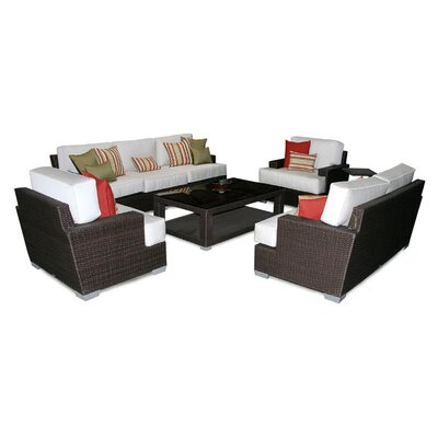 Patio Heaven Signature 5 Piece Deep Seating Group with Cushions