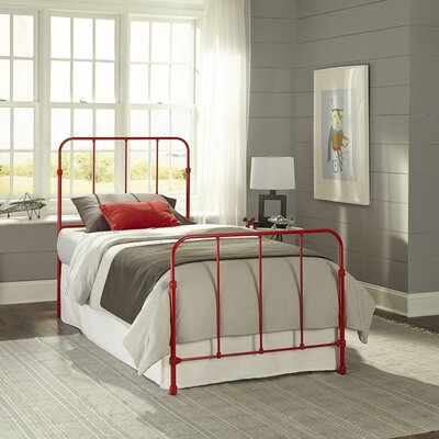 Collin Complete Kids Bed with Metal Duo Panel Color: Candy Red, Size: Full