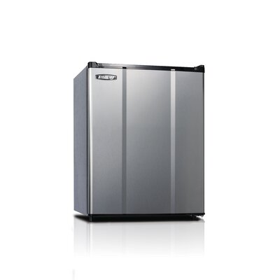 Safe Plug 2.3 cu. ft. Compact Refrigerator Color: Stainless Steel