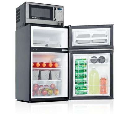 Safe Plug 3.1 cu. ft. Compact Refrigerator with Freezer Color: Stainless Steel