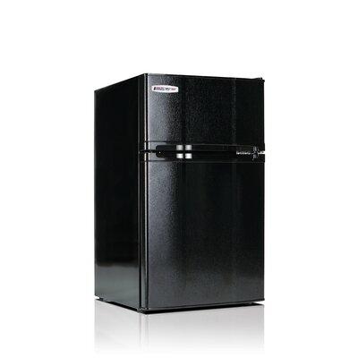 Safe Plug 3.1 cu. ft. Compact Refrigerator with Freezer Color: Black