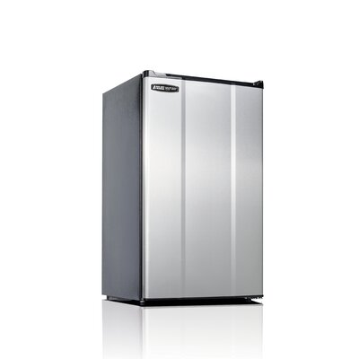 Safe Plug 3.6 cu. ft. Compact Refrigerator Color: Stainless Steel