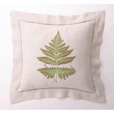 D.L. Rhein Embroidered Fern Leaves II Linen Throw Pillow
