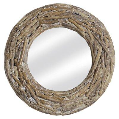 Oceans Apart Driftwood Round Mirror