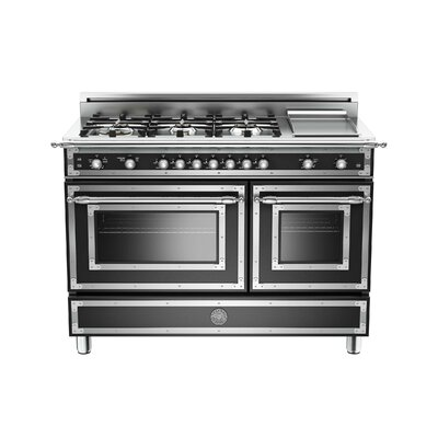 """Heritage Series 48"""" Free-Standing Gas Range with Griddle Color: Black"""