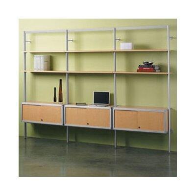 Envision 3-Shelf Oversized Bookcase Shelf Finish: Cool Grey Laminate, Credenza Finish: Black Melamine