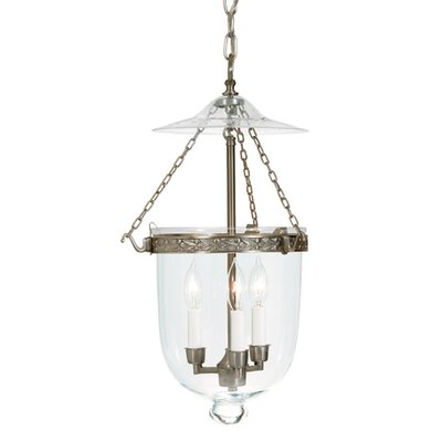 JVI Designs 3 Light Large Bell Jar Foyer Pendant