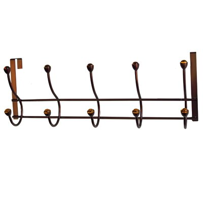 5 Hook Over the Door Coat Rack Finish: Bronze