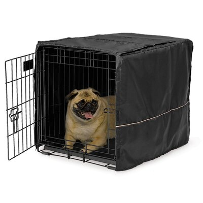 Midwest Quiet Time Black Polyester Dog Crate Cover