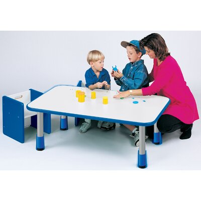 "Rectangular Activity Table Tabletop Color: Pearl White, Side Color: Sun Yellow, Size: 24"" x 48"""
