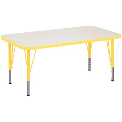 """Play Rectangular Activity Table Side Color: Tulip Red, Size: 30"""" x 60"""", Tabletop Color: Pearl White"""