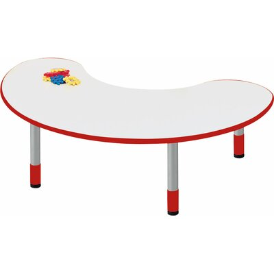 "48"" x 24"" Kidney Activity Table Tabletop Color: Pearl White, Side Color: Sun Yellow"