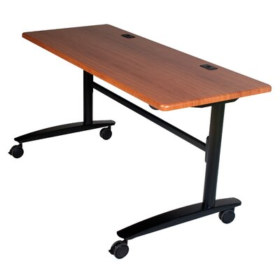 "Cherry Lumina Flipper Training Table with Wheels Size: 60"" W"