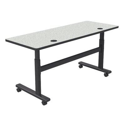 "Height Adjustable Training Table with Wheels Size: 60"" W x 24"" D, Tabletop Finish: Gray Nebula / Black"