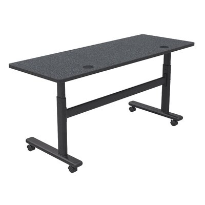 "Height Adjustable Training Table with Wheels Size: 60"" W x 24"" D, Tabletop Finish: Graphite Nebula / Black"