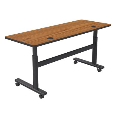 "Height Adjustable Training Table with Wheels Size: 72"" W x 24"" D, Tabletop Finish: Nepal Teak / Black"