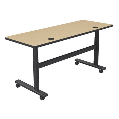 "Height Adjustable Training Table with Wheels Size: 72"" W x 24"" D, Tabletop Finish: Fusion Maple / Black"