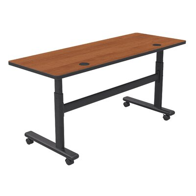 "Height Adjustable Training Table with Wheels Tabletop Finish: Amber Cherry / Black, Size: 60"" W x 24"" D"