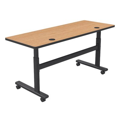 "Height Adjustable Training Table with Wheels Size: 60"" W x 24"" D, Tabletop Finish: Castle Oak / Black"