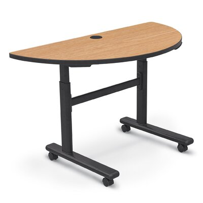 48'' W Height Adjustable Training Table with Wheels Tabletop Finish: Castle Oak