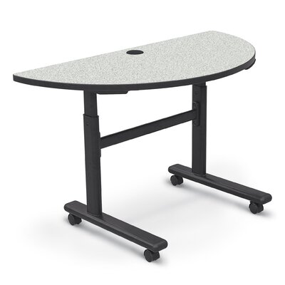 48'' W Height Adjustable Training Table with Wheels Tabletop Finish: Gray Nebula / Black