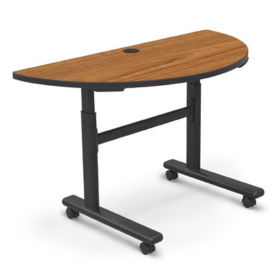 48'' W Height Adjustable Training Table with Wheels Tabletop Finish: Nepal Teak / Black