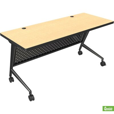 "60"" W Trend Fliptop Training Table with Wheels Tabletop Finish: Amber Cherry, Base Finish: Black"