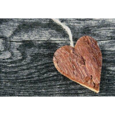 Akzente Clean Keeper Wooden Heart Doormat