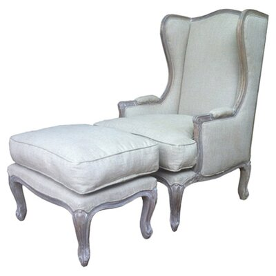 GrupoJK Crano Wingback Chair and Ottoman