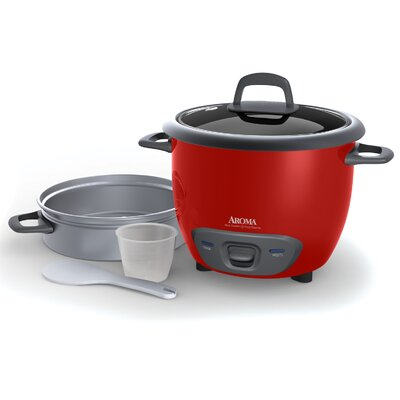 14-Cup Pot Style Rice Cooker and Food Steamer Set Color: Red