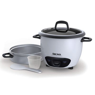 14-Cup Pot Style Rice Cooker and Food Steamer Set Color: White