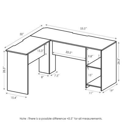 Eakins L-Shaped Corner Desk with Bookshelves
