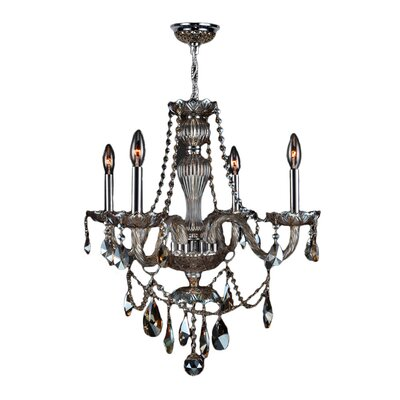 Doggett 4-Light Chain Candle Style Chandelier Crystal Color: Golden Teak