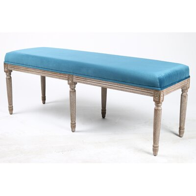 Lafontaine Wood Bench Upholstery: Teal
