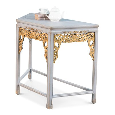 Short Carved Fretwork Console Table Color: Gold