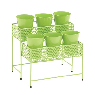 2-Tiered Plant Stand Color: Green