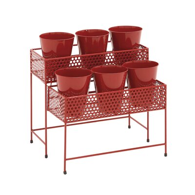 2-Tiered Plant Stand Color: Red